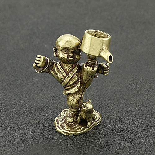 YOPDNE Creativa Decoración Kung Fu Pequeño Monje Zen Boy Varilla de incienso de cobre titular de incienso de té Ceremonia de bronce antiguo