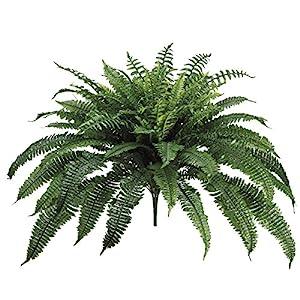 One 32 Inch Long Silk Artificial Boston Fern Bush 50 Inch Spread Plant 90 Branches