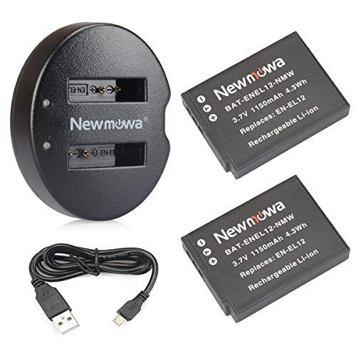 Newmowa EN-EL12 Batería de Repuesto (2-Pack) y Kit de Cargador Doble para Nikon EN-EL12 Nikon Coolpix A1000 AW100 AW100s AW110 AW110s AW120 P330 P340 S310 S70 S610 S620 S630