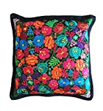 Mexican Handmade Pillow Cover Chiapas Embroidery (Black)