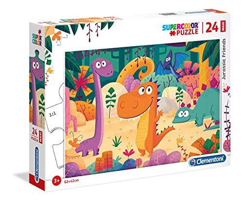 Clementoni- Supercolor Puzzle-Dinosauri-24 Pezzi Maxi, Multicolore, 28506