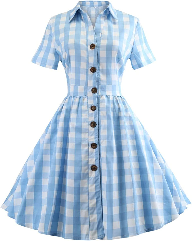 FUZHUANGHM Elegant Plaid Print Women Party Dress Audrey Hepburn Vintage Dress Swing Rockabilly