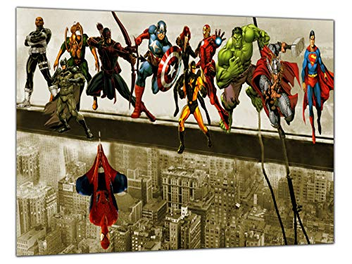 Kunstdruck auf gerahmter Leinwand, Motiv Avengers in the Sky, 30'' x 20'' inch (76x 50 cm) -18mm depth