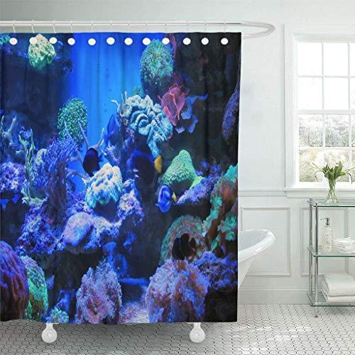 XZLWW douchegordijn haken kleurrijke vis blauw Aquarium licht zout water zoutwater droom Fauna eiland decoratieve badkamer