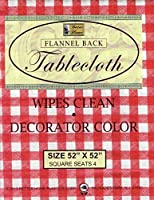 """Better Home Vinyl Tablecloth Red Checkered Decorator Design Flannel Backed (52""""x52"""" Square) [並行輸入品]"""
