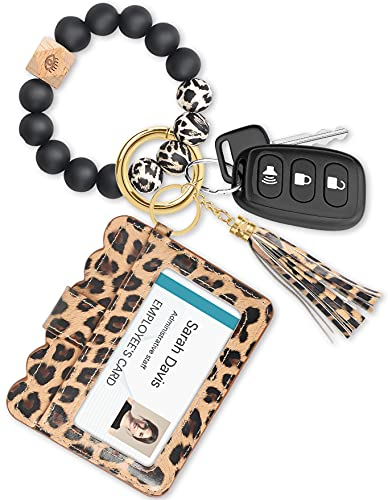Doormoon Keychain Bracelet, Elastic Silicone Beads Wristlet Keys Ring with Cards Holder & Tassel for Cars Key Keychains (Leopard)