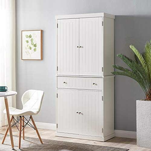 Smile Back Kitchen Cabinet 71'' Traditional Kitchen Pantry Cabinet Storage Cabinet Tall Freestanding Cupboard with 4 Doors, 4 Adjustable Shelves, Large Cabinets and 1 Wide Drawer for Kitchen, White