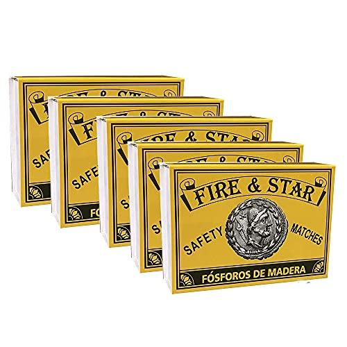 FIRE & STAR 5 Cajas de Cerillas Largas De Madera o Fósforos De Seguridad Largos para Barbacoas, Estufas, Chimeneas y Fuegos Abiertos - 5 cm (500 cerillas)