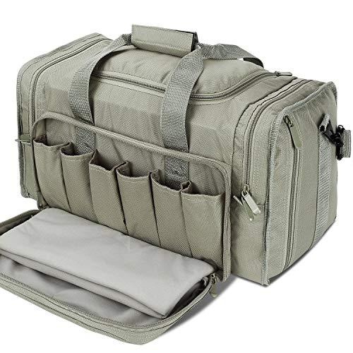 SoarOwl Tactical Gun Range Bag, Durable and Light-Weight Shooting Duffle Bags for Handguns with Lockable & Heavy Duty Zipper and Antiskid Feet (Gray)