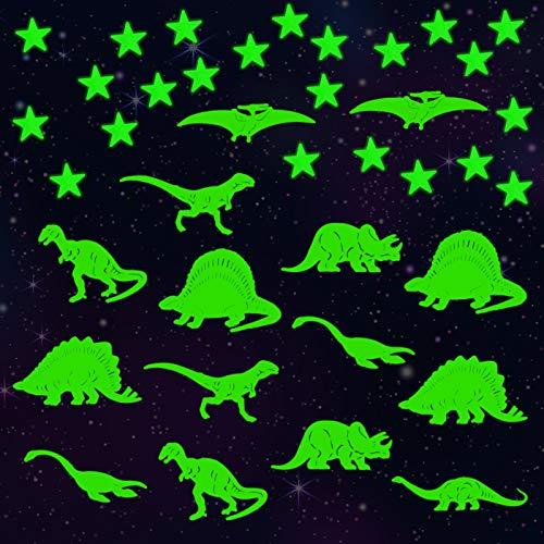 LAITER(2 Dinosaurios + 190 Estrellas Luminosas Pegatinas de Pared) Fluorescente de Plástico PVC Ecológico Adhesivos para Decoración de Pared en Dormitorio de Niños Chicos Niñas Bebé