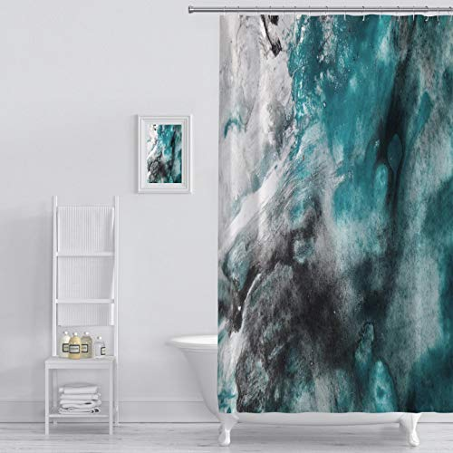 MuaToo Shower Curtain Abstract Background Watercolor Background Abstract Oil Watercolor Art Hand Art Print Polyester Fabric Bathroom Decor Sets with Hooks 60 x 72 Inches, Green