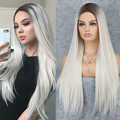 K'ryssma Ombre Blonde Wig Dark Roots Long Silk Straight Synthetic Wig with Middle Parting Platinum Blonde Wig for Women 22 inches