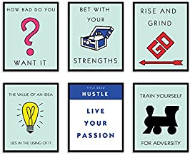Motivational Entrepreneur Quote Wall Art Prints Set of 6 (8x10) Poster Photos - Rise and Grind - Strength - Hustle - Live Your Passion - How Bad Do You Want It