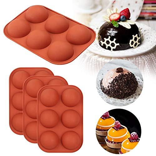 Molde de Silicona con 6 Agujeros, 4pecs, 6 cavidades Molde de Silicona Redonda para Muffin Cupcake, Bandeja de Silicona de Media Esfera para Chocolate, Pasteles, gelatina, pudín, jabón Hecho a Mano