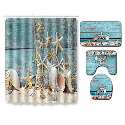 Juego de alfombras de baño 150 × 180 cm con Alfombrillas de baño Antideslizantes Impermeables Conjuntos de Accesorios de baño 4 Piezas-Estrella de mar de Playa Azul Beige