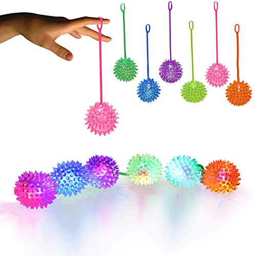 LED Light Up Jelly Spike YoYo Balls Party Favors - 12 Pack