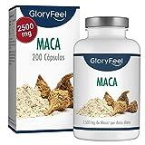 GloryFeel Extracto de Maca Andina - 2500mg Maca - Altamente concentrada 10:1 - Aumenta Energía y Vitalidad - 200 Capsulas de Maca CON Vitamina B12 - Capsulas de la Raíz Original de Maca