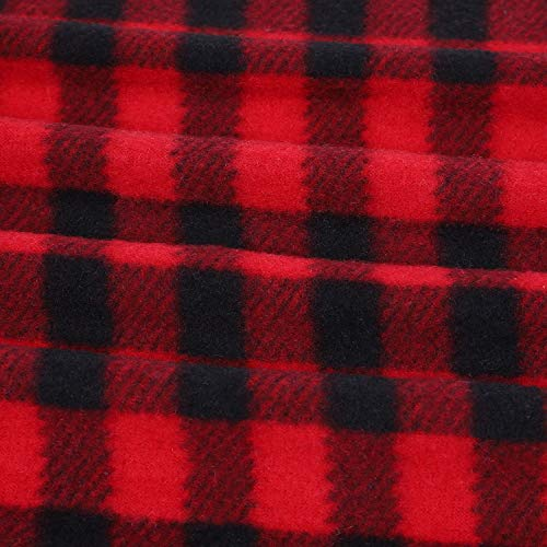 Buffalo Plaid Fabrics 1 Yard Polar Fleece Plaid Fabric Christmas Check Print Fabric Squares Buffalo Checks Pattern Craft Fabric for Sewing DIY Party Festival Decorations (Red and Black)