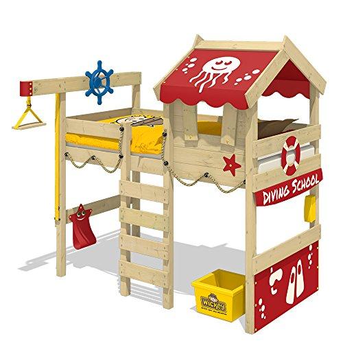 WICKEY Hochbett CrAzY Jelly Kinderbett mit Dach Spielbett 90x200 für Kinder mit Lattenboden und Hebezugsystem, rot