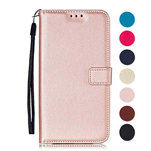 GORASS Cover LG X Power, Flip Custodia Portafoglio Caso Libro Pelle PU con Funzione Supporto e Porta Carte, per LG X Power, Oro Rosa