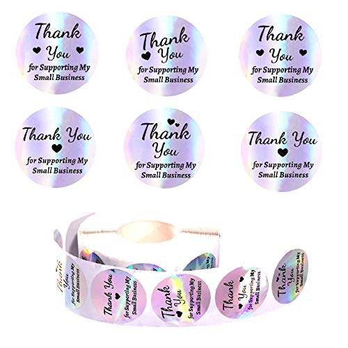 1000 Pieces Holographic Thank You for Supporting My Small Business Stickers, Round Circle Label Decorative Stickers for Bags, Boxes, Tissue,Craft and Online Sales (Rainbow, 1.5 Inch)