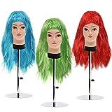 Kurtzy Largas Pelucas para Mujeres - Pack de 3 (68cm) Largas Pelucas Colores Rojo, Azul, Verde - Pelucas Pelo Largo Cosplay, Disfraces y Fiestas de Halloween