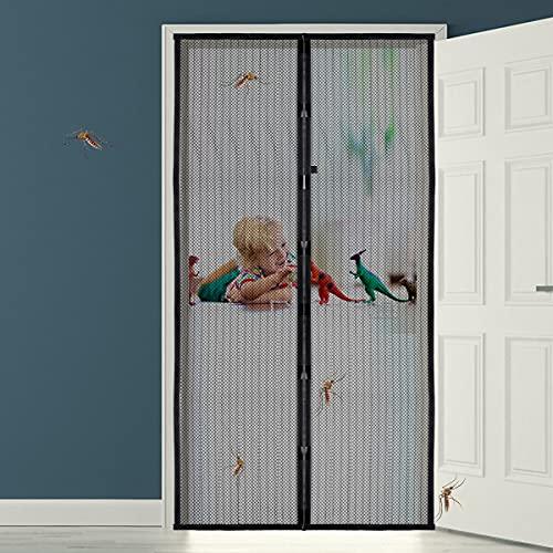 Magnet Fliegengitter Tür Insektenschutz Balkontür, Insektenschutz Fliegenvorhang Balkontür Ohne Bohren 90 x 210cm Fliegengitter Schiebetür Magnetverschluss Faltbar, Für Flure/Türen/Windows - Schwarz