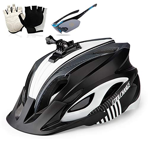 Bicycle Helmet, Cycling Helmet Can Install Sports Camera Flashlight Mountain Bike Helmet with LED Safety Tail Light Gloves And Goggles for Men And Women 58-62CM,Black