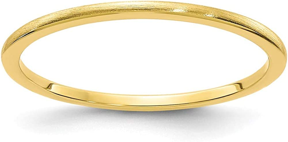 Solid 10k Yellow Gold 1.2mm Classic Dome Stackable Brushed Matte Finish Band Thin Wedding Anniversary Ring