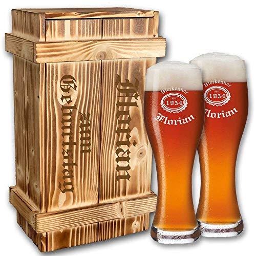 2X Leonardo Weizenglas in geflammter Holzkiste + kostenlose Gravur | individuelles Bier - Geschenkset | Geburtstagsgeschenk | Weissbierglas graviert (B3)