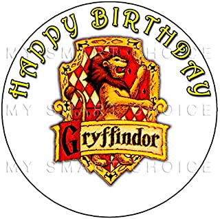 7.5 Inch Edible Cake Toppers – Harry Potter Gryffindor Crest White Themed Birthday Party Collection of Edible Cake Decorations