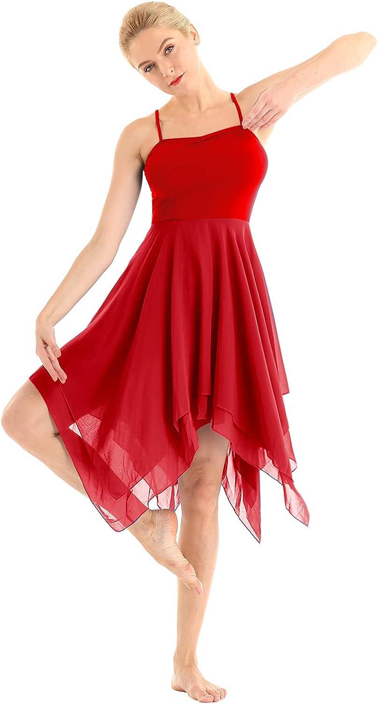 FEESHOW Womens Adult Camisole Dress Ruffle Sweetheart Asymmetrical High-Low Dance Dress