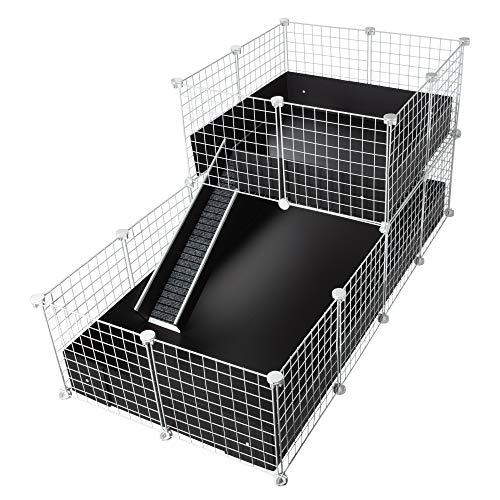 CagesCubes - Jaula CyC Deluxe (Base 2X4 + Loft 2x2 - Panel Blanco) + Base de Coroplast en Negro para cobayas