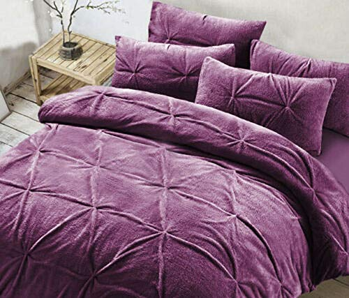 Homefurnishingco Grace Lace Fleece Duvet Cover Teddy Bear Single Double Super with Pillowcase (Teddy Madison Plum, King)