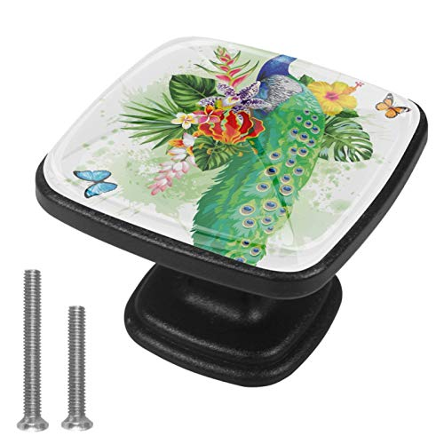 con foglie di palma pavone farfalle e fiori esotici Pomelli per Porta 4 Pezzi Manopole per Mobili da Cucina Pomelli per Mobili Pomelli Per Cassetti/Cucina/Armadio Antichi