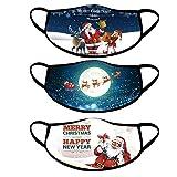 Lulupi Erwachsene Halstuch Mundschutz Weihnachten LED Licht 3D Druck Bandana Maske Multifunktionstuch mit Motiv Mehrweg Atmungsaktiv Mund und Nasenschutz Damen Herren