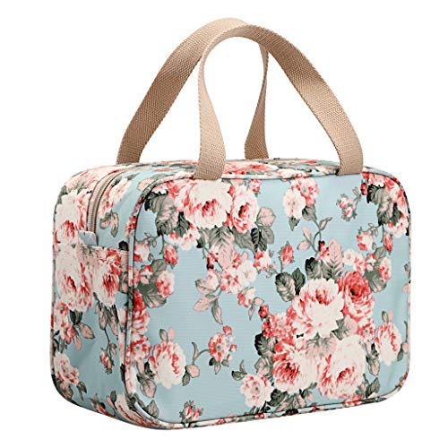 IGNPION Woman Large Travel Toiletry Bag Waterproof Wash Bag Make up Organizer Bag Cosmetic Bag Swimming Gym Bag (Light Blue Flower)