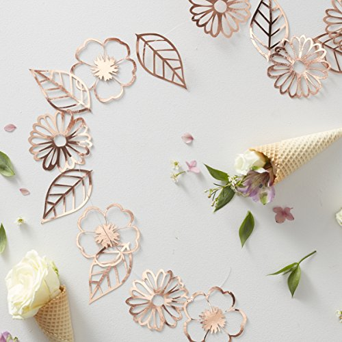 Ginger Ray Rose Gold Foiled Flower Party Garland 3 Meters Ditsy