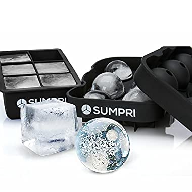 SUMPRI Sphere Ice Mold & Big Ice Cube Trays Novelty-Silicone Ice Ball Maker With Lid For Infused Ice,Whiskey Glasses [2 Pack] Large Round Spheres (Black)