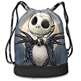 Lawenp Jack Skellington Fashion Unisex Bolsa de Almacenamiento sólida Mochila Deportiva de Viaje y Senderismo Bolsillo con cordón