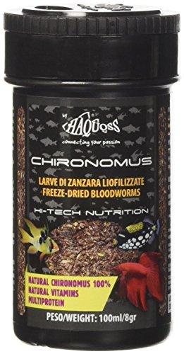 Haquoss Chironomus Mangime Naturale Liofilizzato in Larve di Zanzara per Pesci Tropicali, 100 ml/8 gr