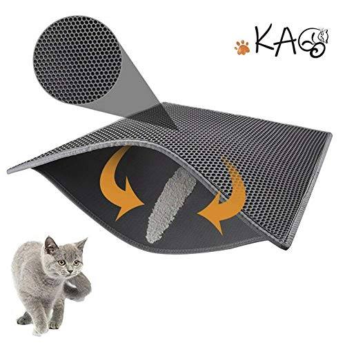 """Price comparison product image kaxionage Cat Litter Mat Litter Trapping,  30"""" X 24"""" Inch Kitty Litter Mat, Honeycomb Double-Layer Design Waterproof Urine Proof Trapper Mat,  Large Size Easy Clean Scatter Control (Grey)"""