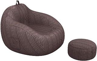 JJZXT Grandes sofás Perezosos Cubren sillas sin Relleno Tela de Lino Tumbona Asiento puf Puff sofá Tatami Sala de Estar (Color : Brown)