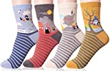 DEARMY Women's Cotton Fun Crew Socks | Gifts for Women | One Size Fits All (Anime 4Pairs, one size)