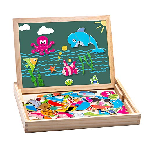 Puzzles Rompecabezas Magnéticos de Madera Juguete Educativo para Niños 3+ Años, Tablero de Dibujo Doble Cara, 135 Piezas de Letras + Números + Figuras