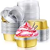 80 Sets Mini Aluminum Foil Cake Pan with Clear Lids Heart Shaped Foil Cupcake Cups Disposable Aluminum Dessert Baking Cups Pans for Valentine Wedding Mother's Day Parties 55 ml/ 1.86 oz (Gold)