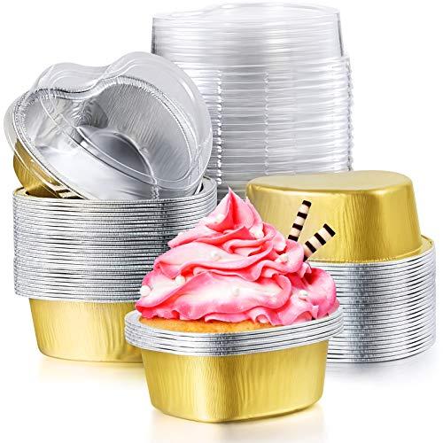 80 Sets Valentine Mini-Kuchenform aus Aluminiumfolie mit transparentem Deckel, herzförmige Cupcake-Becher, Einweg-Aluminium-Dessert-Backförmchen für Festivals, Backen, Kochen, 55 ml (Gold)