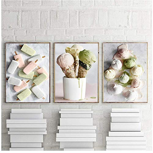 Helado Cocina Arte de la pared Postre Lienzo Pintura Alimentos Impresiones Imágenes para la sala de estar Decoración del hogar 60x90cm Con marco verde