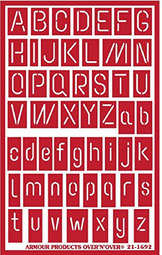 Armour Over n Over Reusable Glass Etching Stencil ~ ONO Neon Alphabet Sizes are approximate. Width x Height Narrowest Letter- 1/16.' Wide Widest Letter- .75'' .All Capital Letters- .7