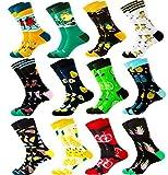 Jielucix Bunte Socken Damen 39-42 Lustige Socken Damen Witzige Baumwolle Farbige Anzugsocken Geschenk für Frauen (12 Paare Obst)